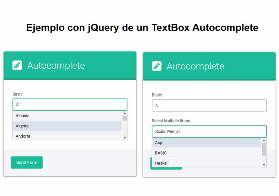 How to create a TextBox with autocomplete with jQuery