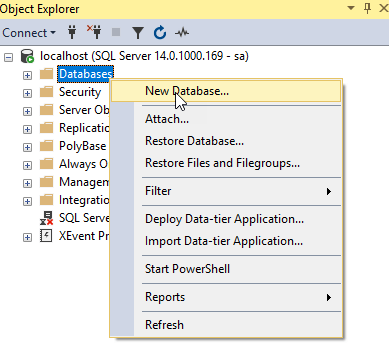 Crear una nueva base de datos sql server