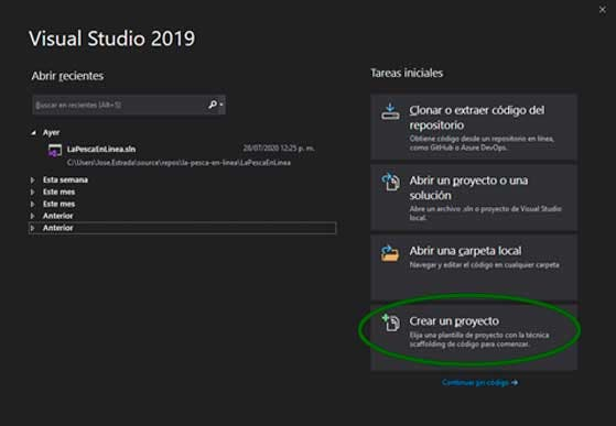 visual studio 2019 Crear un Proyecto ASP.NET Core